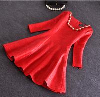 Women Spring Summer New Dress 2015 Vinatge Elegant  Office Lady  Red Blue Sky Blue Pleated  Dresses Plus Size Dress