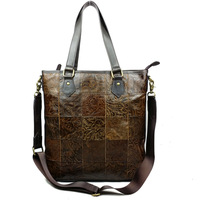 Winter vintage leather embossed women's handbag casual retro stitching embossed cowhide leather shoulder bag tote bag