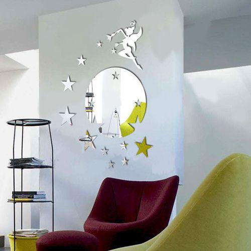 Vol F E Tinkerbell Avec Des Toiles Sticker Miroir Rond