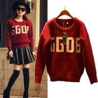 women autumn winter thick soft warm casual Pullover knitted sweater 2015 spring print letter loose sweaters sweatshirt
