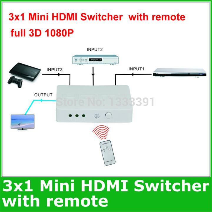 Black 3 ports Mini HDMI Switch Box 3x1 Mini HDMI Switcher splitter 3x1 with remote control full 3D 1080P Support Free shipping(China (Mainland))