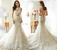 2015 New Arrival Design Fashionable Romantic High Neckline Crysal Waist Lace Backless Bridal Gown Mermaid Wedding Dress