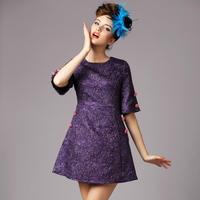 S-5XL Top Quality 2015 Spring Autumn Vintage Button Jacquard A-line Casual Work Dress Women Half Sleeve Big Size Dress XXXXXL