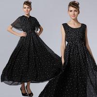 Vestido De Festa Real 2015 New Dandelion Cape Prom Dress Cocktail Party Empire Yes Chiffon Ankle-length Black Women Dresses