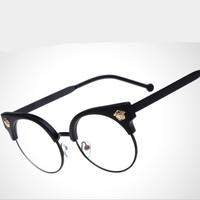 2015 New Women Brand Designer  Half Rim Eyewear Eyeglasses Spectacles Frame Glasses Optical Frame Plain Glasses Oculos De Sol
