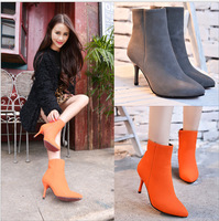 2015 NEW Fashion European women boots red bottom high heels ankle boots Matte leather boots sexy pointed toe women shoes