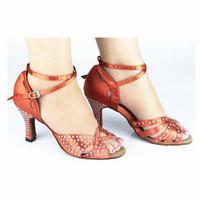 Customized Heels Women's Satin Upper Ankle Strap Ballroom / Latin Pink Dance Shoes With Rhinestone JYG839