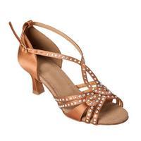 Customized Heels Women's Satin Upper Ankle Strap Ballroom / Latin Pink Dance Shoes With Rhinestone JYG884
