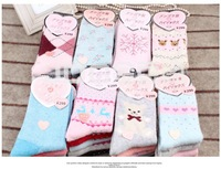 5pairs/lot New Snow Autumn And Winter Rabbit Wool Soft Socks For Woman Girls Thickened Cotton Sock 10pcs=5pairs Free Shipping