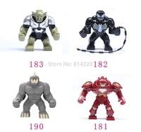 4pcs/lot Big Venom Lazy Rhino VS Hulk Buster Big Green Goblin Figures Toys Marvel Building Blocks Action Figures Bricks Toys