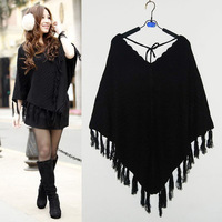 women autumn winter outwear Pullover knitted cloak coat mantle casual sweater 2015 spring Tassel Batwing loose sweaters