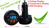 2015 Hot 3IN1 USB INTERFACED CHARGER Voltage Display Temperature Display USB Charging Car cigarette lighter