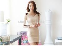 Free shipping Womens dresses Libres de franqueo women 2014 Autumn Winter korean OL fashion bodycon slim long sleeve Dresses