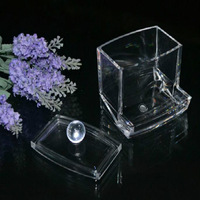 Hot Sale Clear Acrylic Cotton Swab Q-tip Storage Holder Box Cosmetic Makeup Case