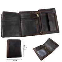 Men short crazy horse leather wallets Vintage designs Brand High Quality soft cowhide leather Card Holder Coin Pocket
