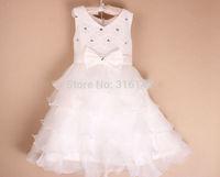 Retail 2015 new sleeveless chiffon dress/Girls toddler lace embroidery tutu layered princess party formal dress Y-Dec10