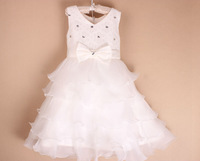 Retail 2015 new sleeveless chiffon dress/Girls toddler lace embroidery tutu layered princess party formal dress Y-Dec10