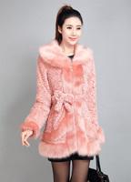 Factory Direct 2014new fashion Brand high quality pink red faux fur jacket,women winter Elegant coat, Gift diamond belt