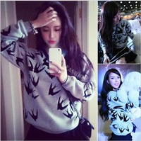 Top Sale! 2015 New Autumn Winter Women/Lady Plus Size Long sleeved  Sweatshirts  Swallow Printed Thickening Pullover