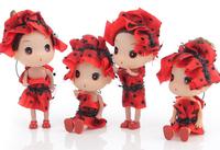 Ddung pendant doll 12pcs 12cm exquisite red kerchief bride cake girl cloth bag key chain wedding gift children prize wholesale