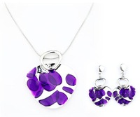 Top Quality Enamel Fashion jewelry set Women's Party gift Snake Chain Pendant Necklace and earrings set Gifts A046