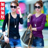 Winter women's basic shirt plus velvet thickening basic t-shirt V-neck milk, silk basic shirt women's plus size