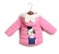 Free shipping lovely princess Girls warm quilted jacket Plus thick velvet Pink yellow, sky blue hooded jacket