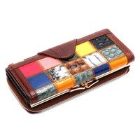 Fashion Brand Designer Purse Genuine Leather Women's Plaid Wallet Luxury Bag Hasp and Zipper Wallets