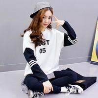 100% autumn cotton sweatshirt thin medium-long o-neck loose pullover long-sleeved shirt female