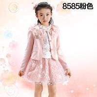 8585 girls clothing 2015 child knitted 3 pieces\set skirt 130cm-165cm lace children's girls clothing sets girl angel skirt set
