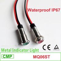 automotive led pilot lamp 6mm Mounting dia, CMP waterproof metal 6v 12v 24v  Mini LED Indicator Light With Cable
