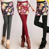 2015 Free Shipping New Spring Autumn Women Pants Plus Size Winter Plus Velvet Warm Printing Divided Skirts Woman Leggings S-4XL