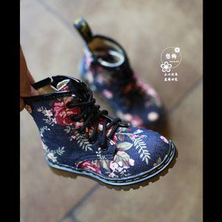 Rose. Bottes de toile femelle, l'enfant. vintage. hiver, plus de velours zippée côté martin bottes, princesse, bottes, moyen- jambe