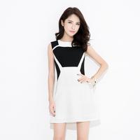 summer plus size clothing original design elegant sleeveless o-neck slim black and white stripe one-piece dress