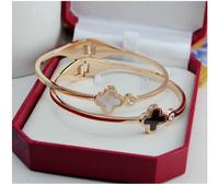 Clover rose gold rhinestone bracelet Black and white Shell 18K rose gold titanium steel bracelet girls gift