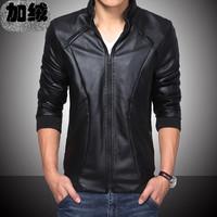 2014 men's PU plus velvet winter clothing male short design slim motorcycle jacket outerwear winter jacket casual jackets