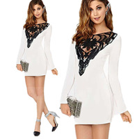 2015 Spring New Fashion Women Casual Dress Plus Size Long Sleeve Dress Lace Sexy Pencil Bodycon Dress