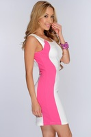 ML18049 Size M/L Available Sleeveless Tank Design Pink And White Patchwork New 2014 Summer Sexy Bodycon Club Dresses