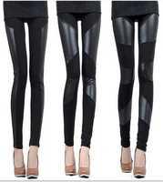 free shipping!2015 New womans leggings Sexy Lady Stitching melar Faux Kulit Kembali Legging Pant LRS penjualan panas