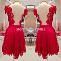 Hand Make In Stock Women Party Dresses V-Neck Cap Sleeve Above Knee Tulle Prom Dresses TB-24
