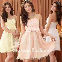 L-3XL Brand Elegant Ladies Plus Size Pleated V Shape Sleeveless Gauze Hem Formal Dresses Women Bow Gowns Bridesmaid Dresses 3408