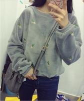 High quality cactoid embroidery plush o-neck long-sleeve sweatshirt