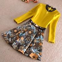 Women Autumn Spring Dress 2015 Fashion brand Vintage Office Lady Floral Print Patchwork Elegant Dresses Ball Gown Dress SY2758
