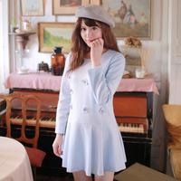Winter New Long-sleeved Dress Korean Sweet Lady Dimensional Flowers Loose A-line Dress W23208
