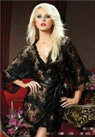 2015 New Sexy Lingerie Lace Black Sleepwear Robe Night Gown Large Size Sexy Black Perspective Bathrobes