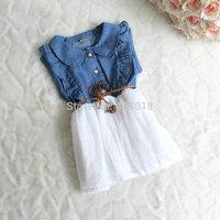 Summer Fashion Kids Baby Girls Dresses Short Sleeve Denim Polka Dot Waistband Lace Gauze Bow Dresses C001