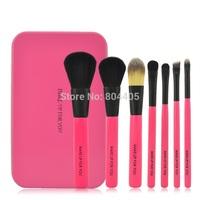 Metal case 7pcs makeup brush set, cosmetic brush set ,  black/ pink color
