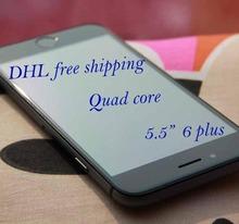 DHL free shipping HDC i6 phone 5.5 inch i6 plus quad core MTK6582 Metal framework 1GB RAM 16GB ROM Android smartphone 3G WCDMA