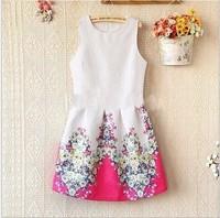 New Hot Summer-Autumn Korean Fashion Women Ladies O-Neck Sleeveless Vest Bottoming Slim Flower Print Dress Free Shipping