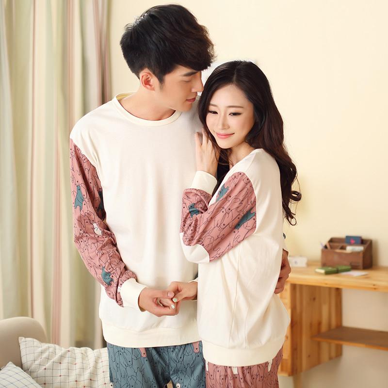 Qiu dong season cotton long sleeve lovers pajamas leisure cartoon man woman big yards in the spring and autumn leisurewear suit(China (Mainland))